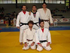 Equipo masculino para la primera jornada de la segunda division de la liga internacional de clubes Xunta de Galicia 2015: Pitu, Adrian, Jorge (arriba), Moises y Ruben (abajo).