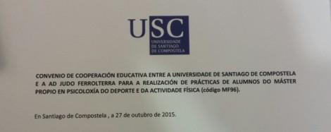Cabecera del convenio de cooperación educativa firmado entre el club y la Universidad de Santiago de Compostela